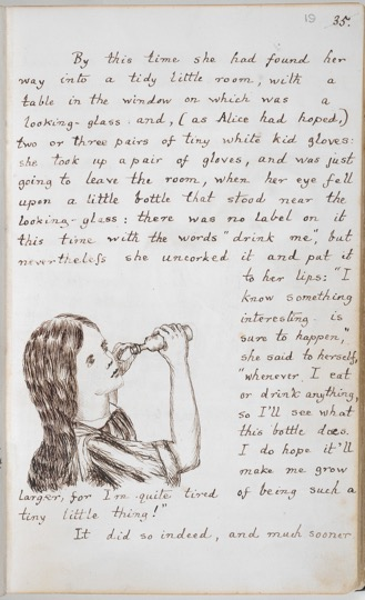 Alice's Adventures Under Ground [in Wonderland]: 'Alice drinks to grow taller' (British Library, 1862-64)