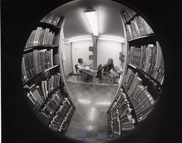 Students studying in tiers, Albion College (Special Collections)