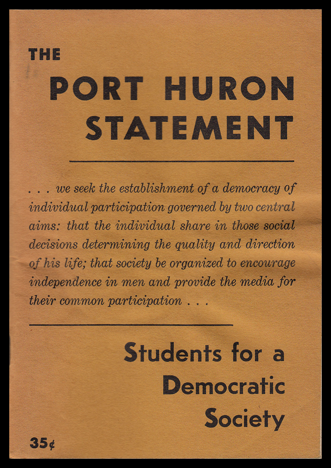 New student activism stops on the road to new solidarities cover of the 2nd edition of the port huron statement public domain monicamarmolfo Images